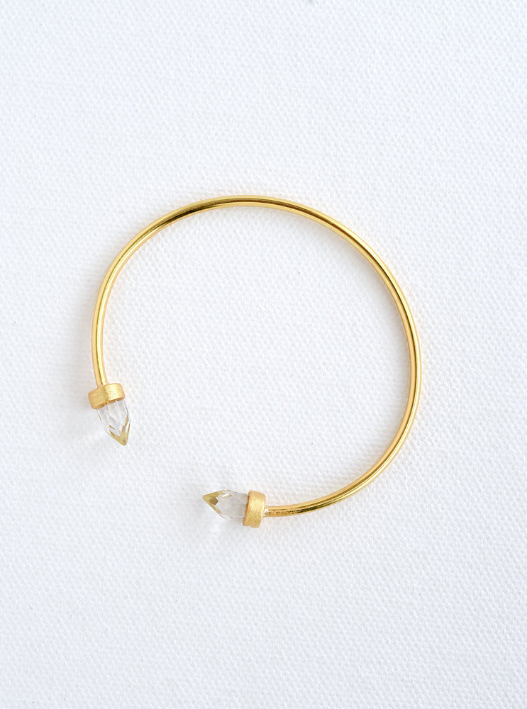 Double Crystal Point Bangle Bracelet