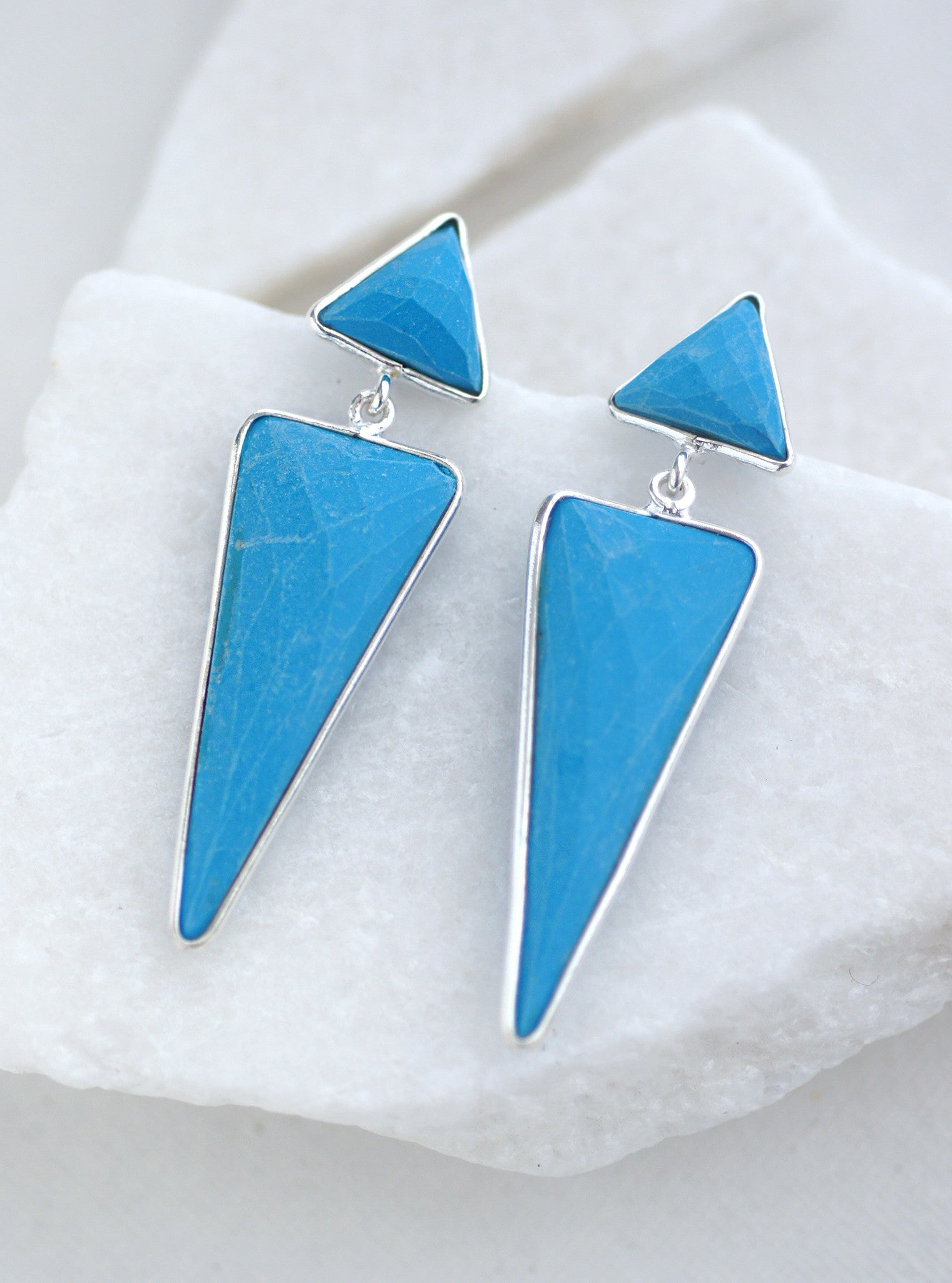 Long Triangle Gemstone Earrings