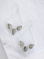 Gorgeous Fan Triple Stone Earring