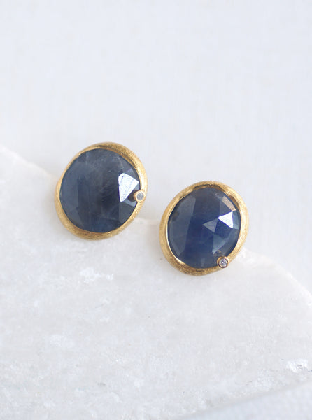 Natural Sapphire with Diamond Stud Earrings