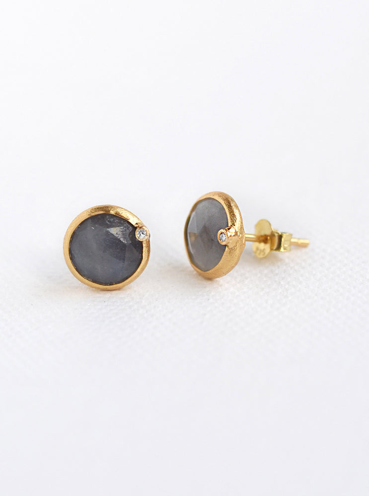 Nature Sapphire Round Genuine Diamond Earring *
