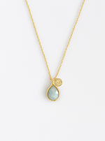 Initial Mini Teardrop Gemstone Necklace