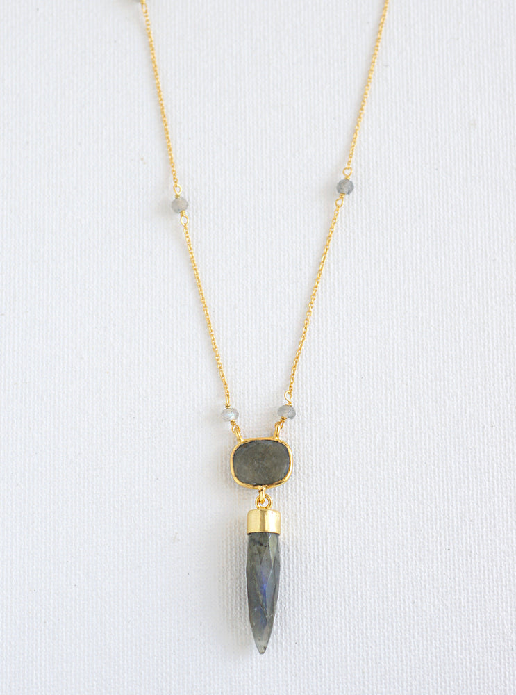 Pointy Cushion Gemstone Necklace