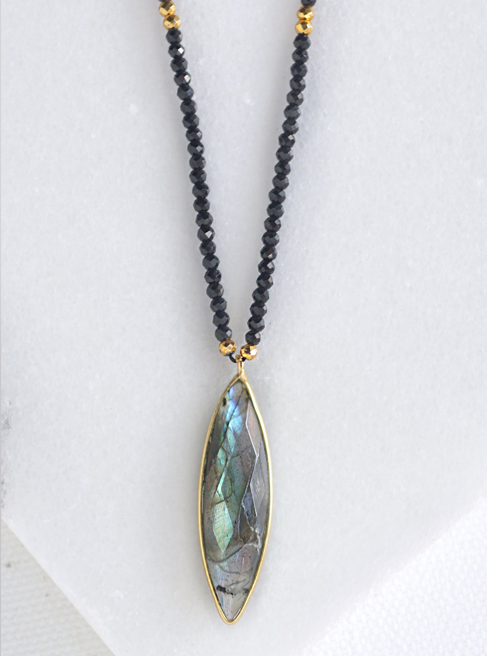 Marquise Beaded Gemstone Necklace