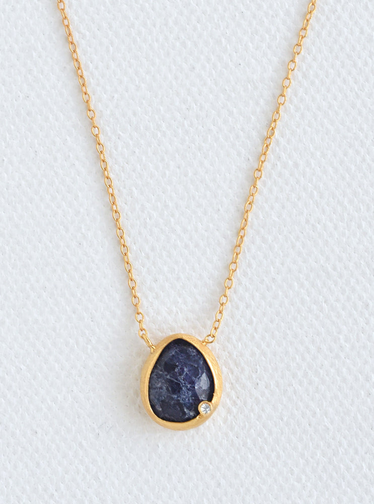 Nature Gemstone Oval Genuine Diamond Necklace *
