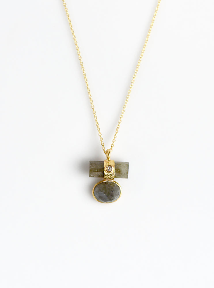 Gemstone Bar & Bezel with CZ Necklace