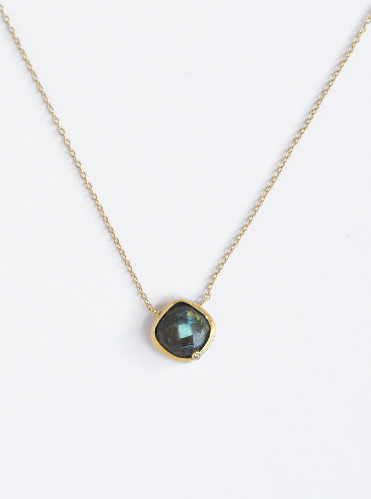 Natural Gemstone with CZ Cushion Necklace