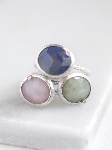 Natural Sapphire with Diamond Oval Ring*