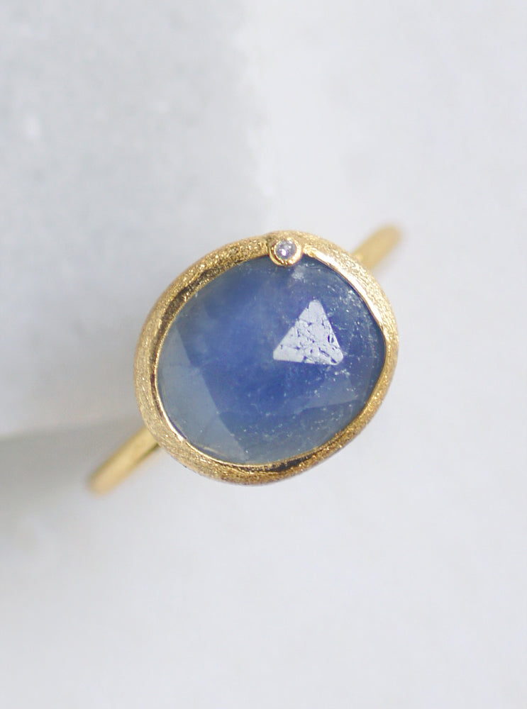 Natural Sapphire with Diamond Oval Ring