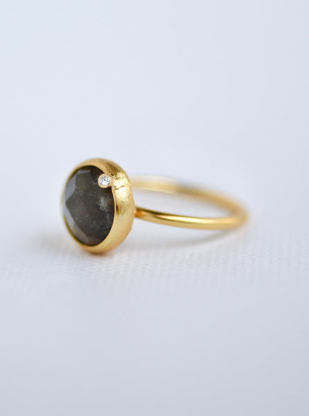 Natural Gemstone with Diamond Round Ring