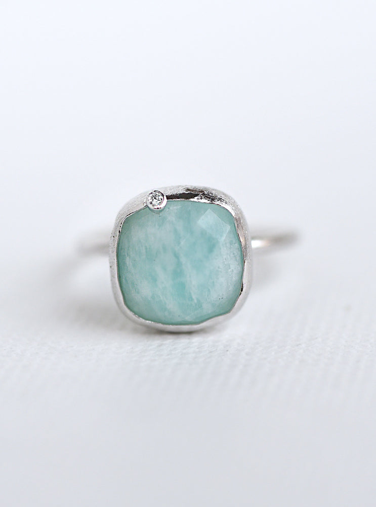 Natural Gemstone with Diamond Oval & Cushion Ring