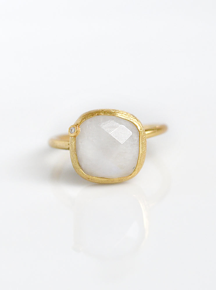 Natural Gemstone with CZ Cushion Ring