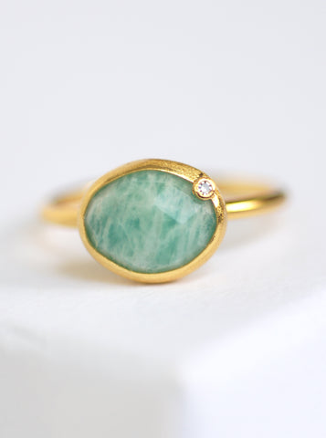 Natural Gemstone with Diamond Oval Ring