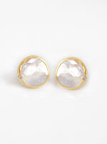 Shelly Single Mother of Pearl with CZ Earring