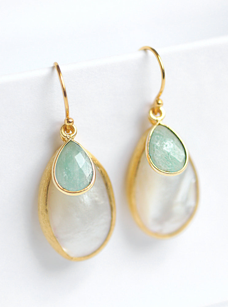Mother of Pearl with Gemstone Dangle Earrings