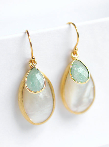 Mother of Pearl with Gemstone Dangle Earrings*