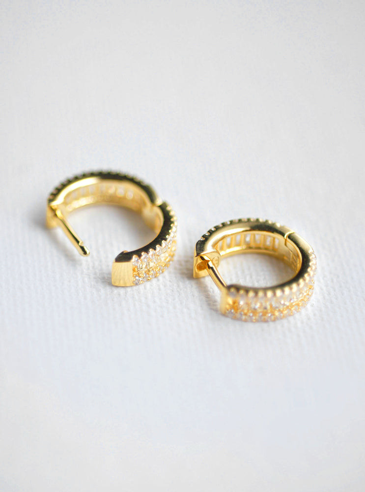 Baguette CZ Hoop Earrings