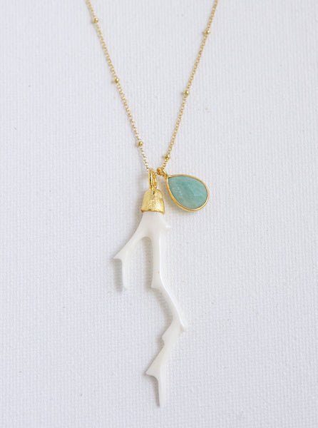 Carved Bone Branch and Amazonite Necklace