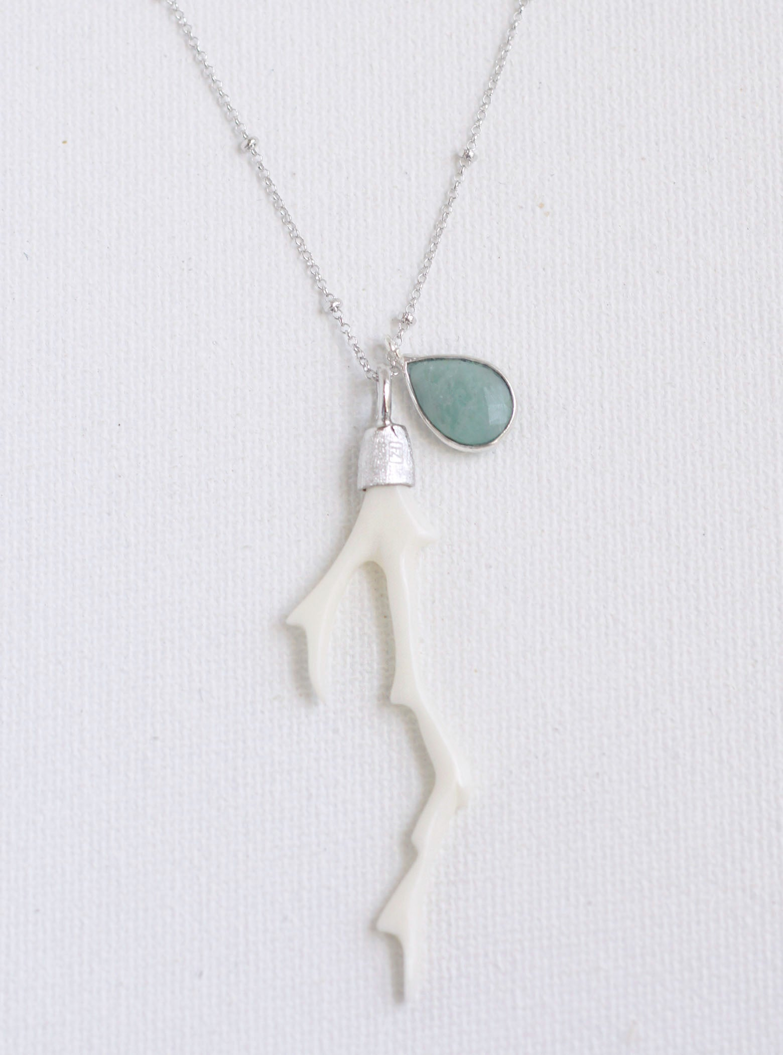 Carved Bone Branch and Amazonite Necklace **