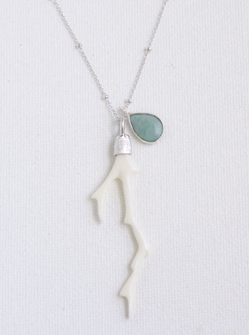 Related product : Carved Bone Branch and Amazonite Necklace