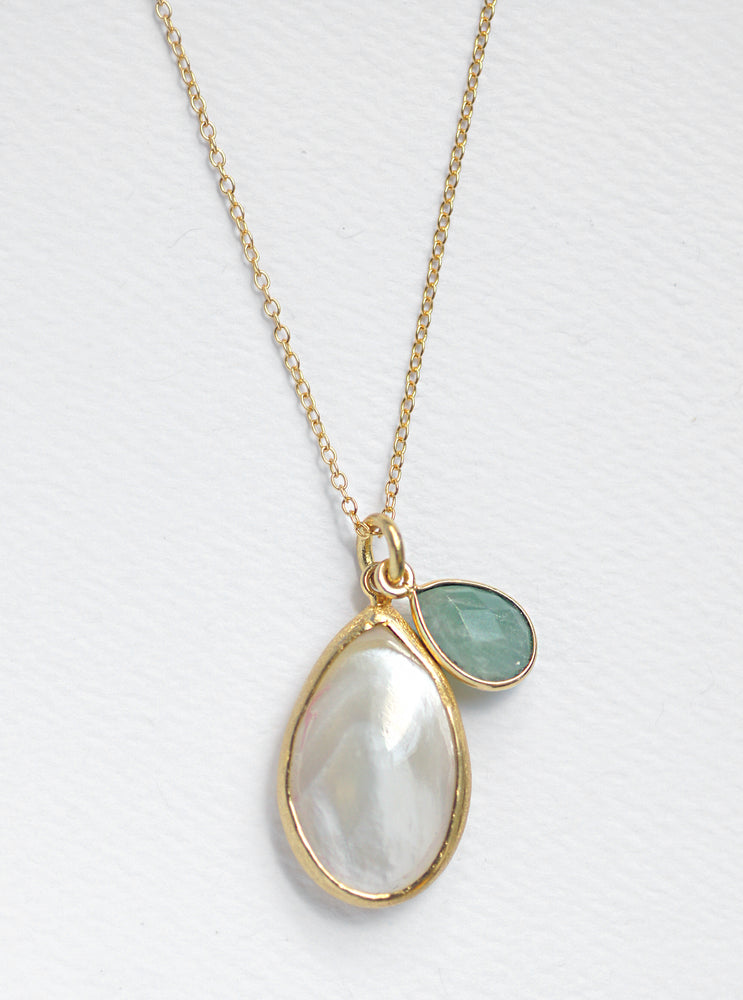 Mother of Pearl with Gemstone Dangle Necklace