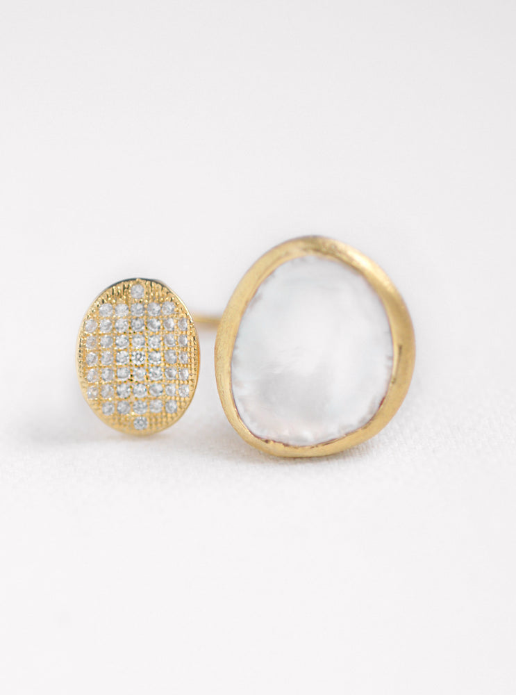 Biwa Pearl and CZ Double Ring