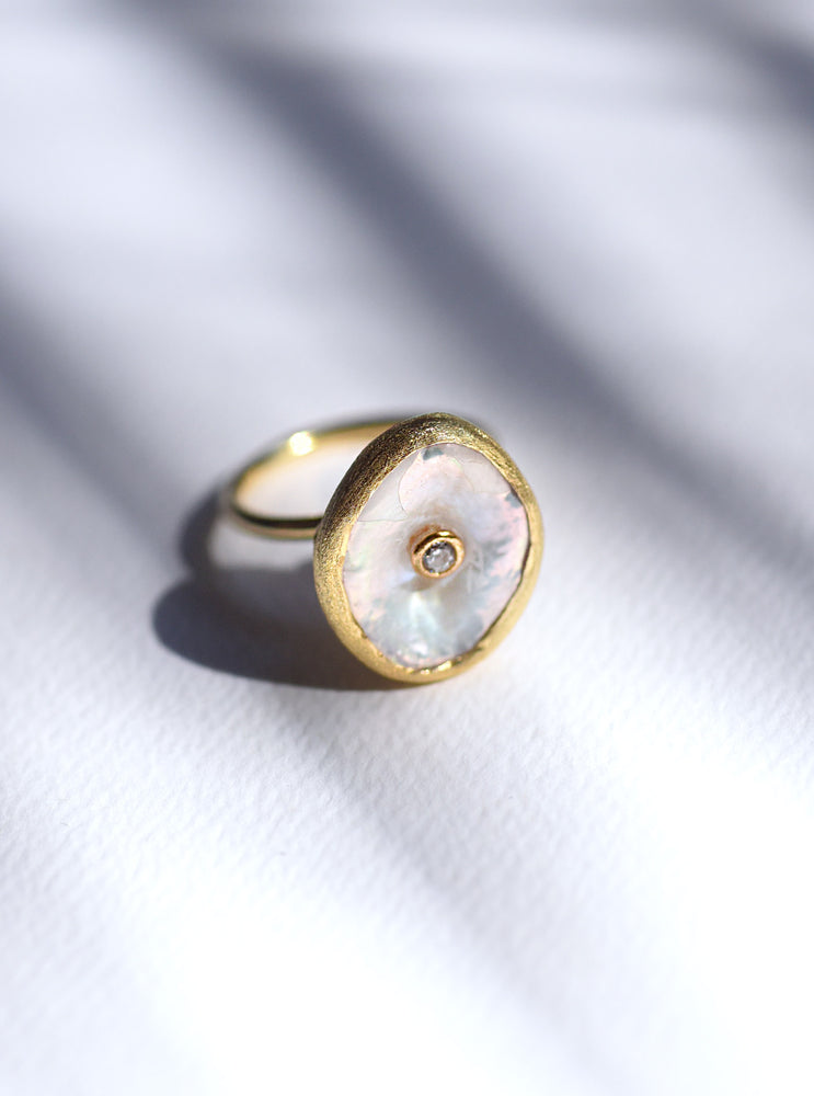 Coin Pearl CZ Ring