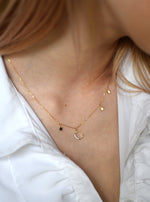 Crescent  and Little Stars CZ Necklace