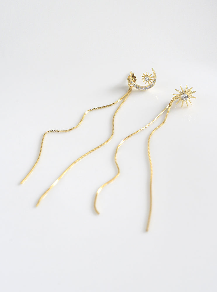 Crescent & Starburst Earrings With Tassels