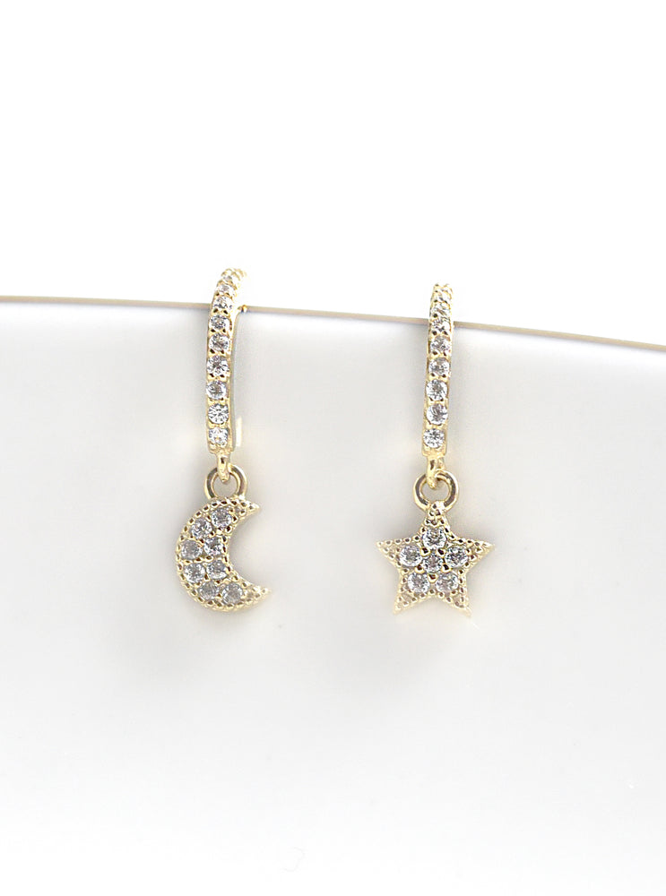 Hoop CZ Moon and Star Earring