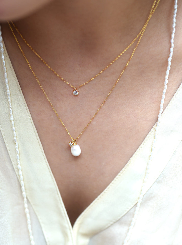 Minimalist CZ diamond necklace