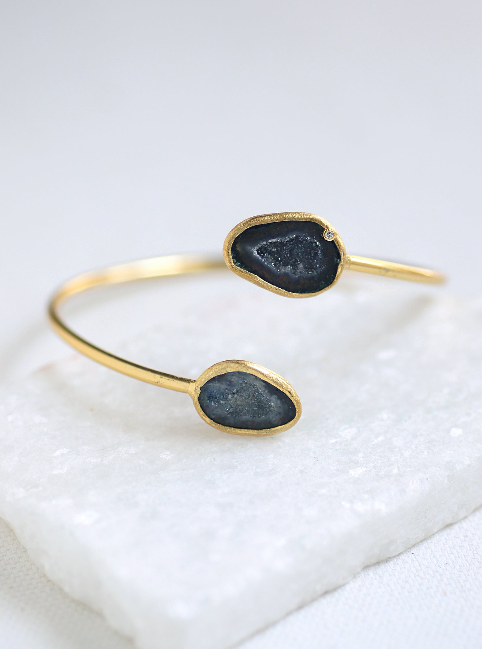 Diamond Double Geode Bangle  *