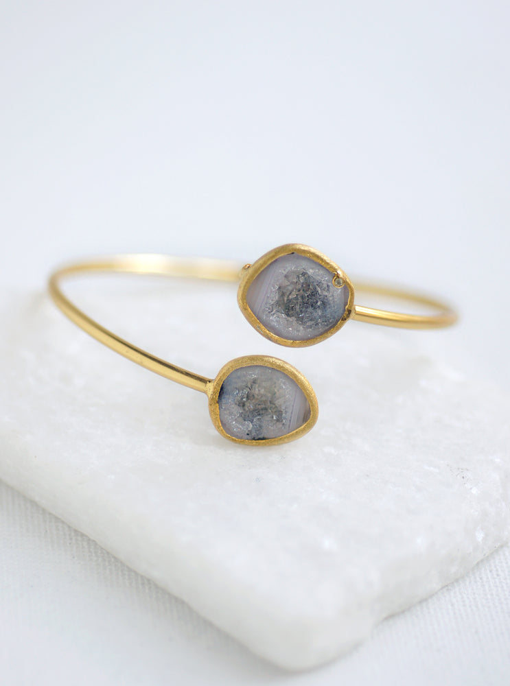 Diamond Double Geode Bangle