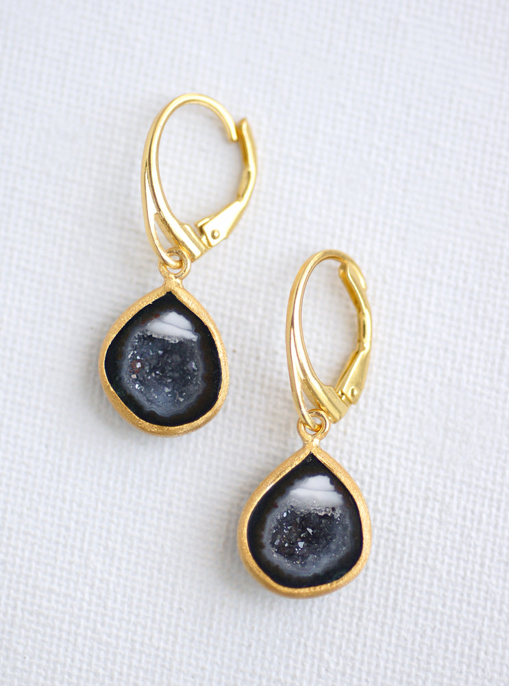 Antique Geode Dangle Earring