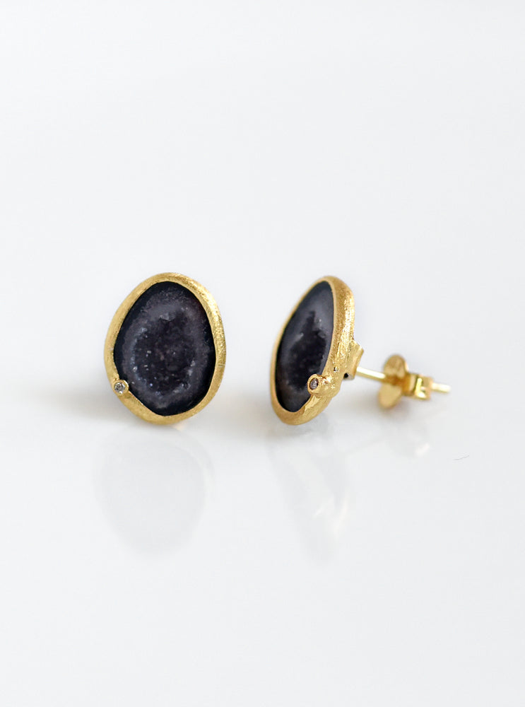 Diamond Geode Stud Earrings
