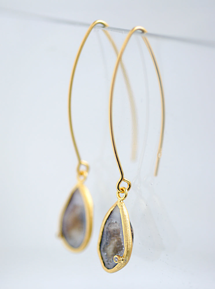 Geode With Diamond Fish Hook Long Earrings