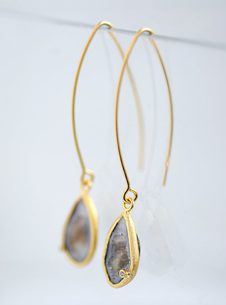 Geode Fish Hook Long Earrings