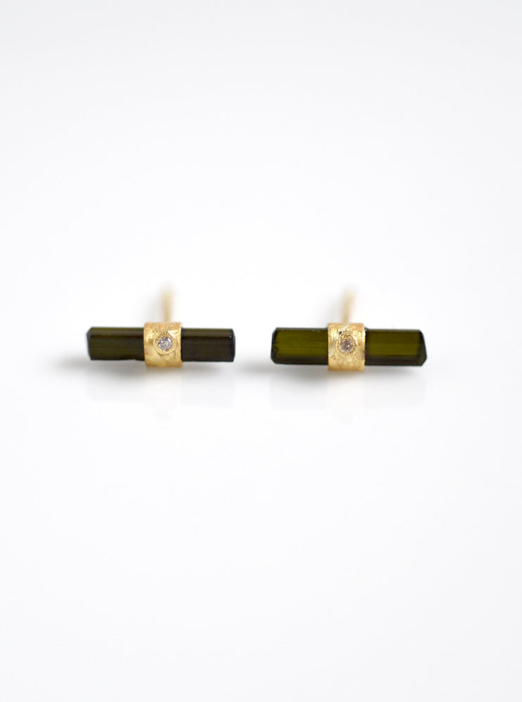 Tourmaline with Diamond Parallel Bar Earring