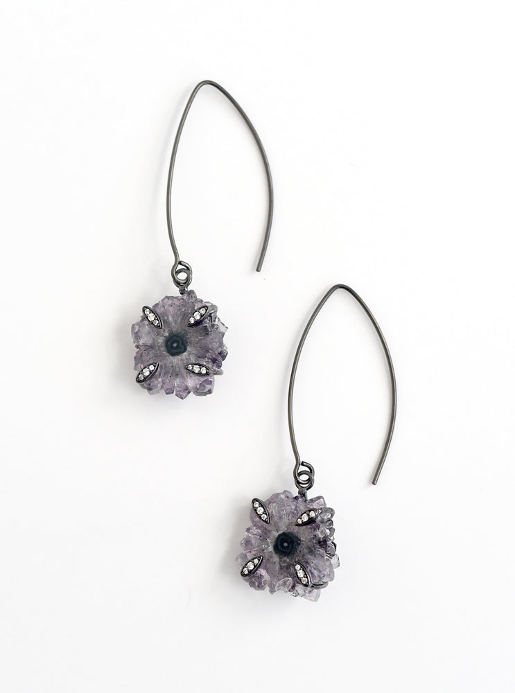 Stalactite Flower Fish Hook Long Earrings