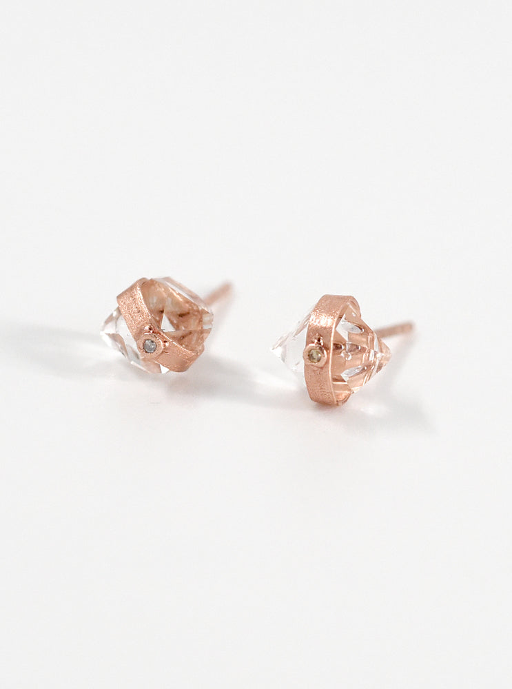 Herkimer Quartz with Diamond Stud Earrings