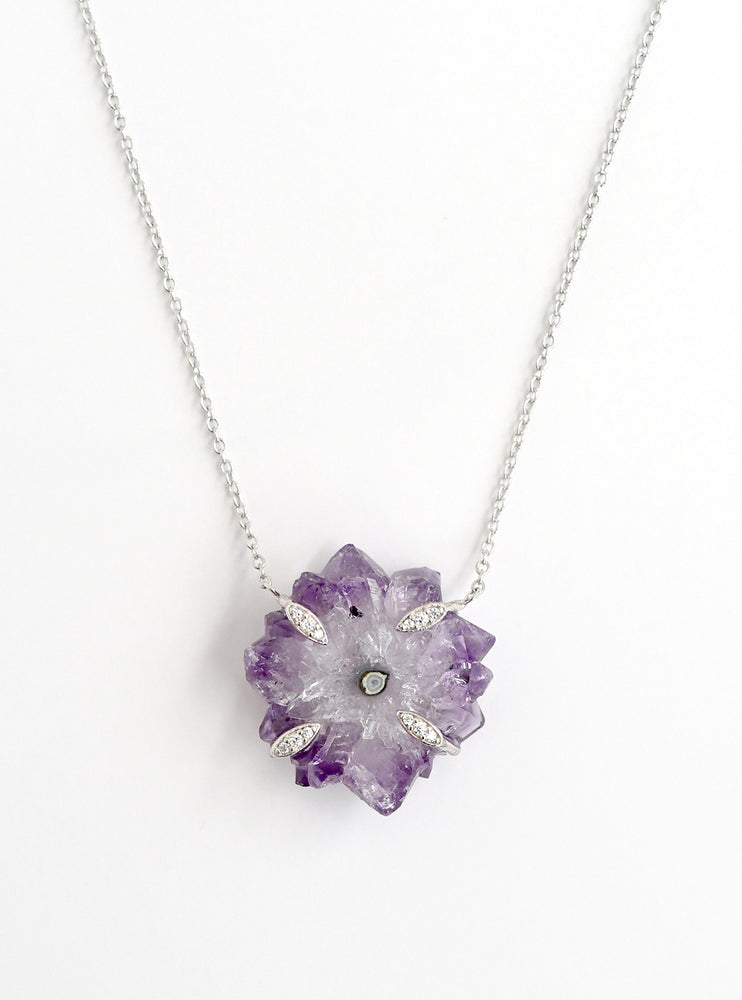 Amethyst Stalactite Flower with Quartz Necklace
