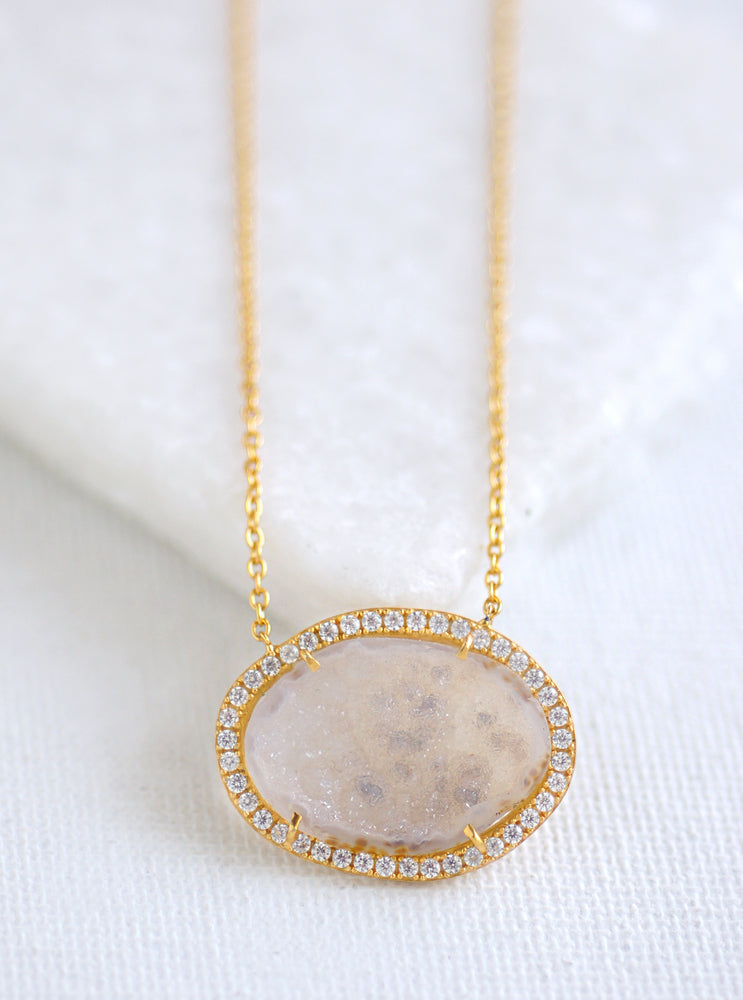 Small Geode Druzy Slice Necklace