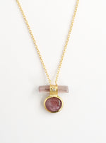 Double Tourmaline Horizontal Bar With Diamond Necklace