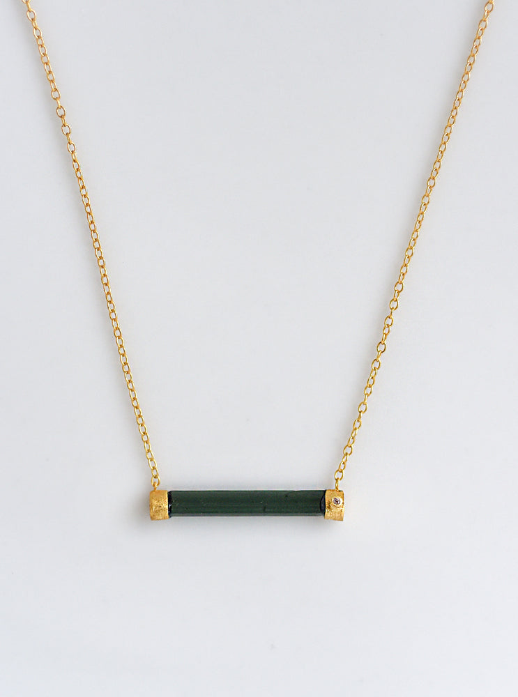 Tourmaline Horizontal Bar With Diamond Necklace