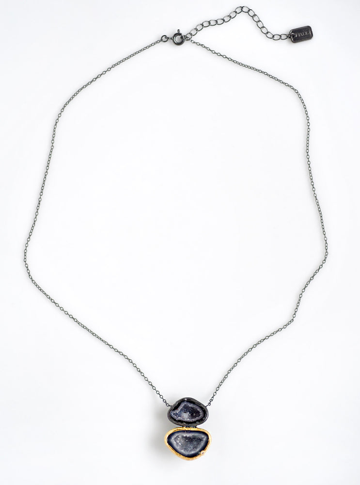 Diamond with Double Geode Necklace