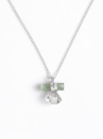 Tourmaline Bar Attached Herkimer Quartz with Diamond Necklace
