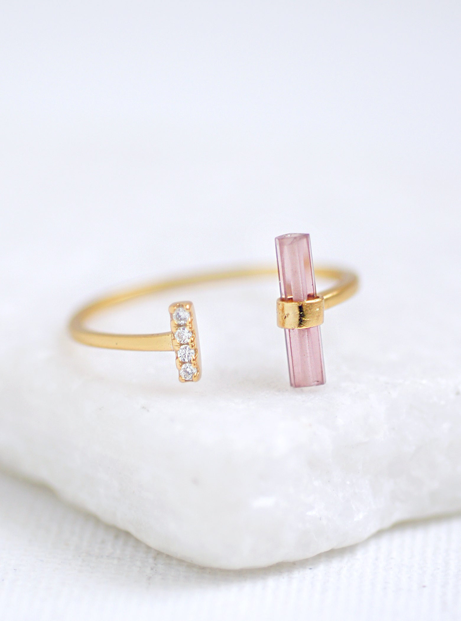 CZ Parallel Tourmaline Bar Ring