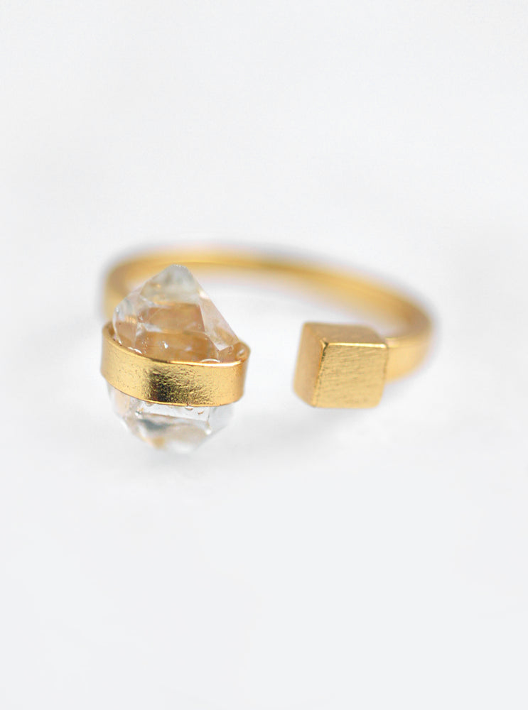 Double Herkimer Diamond Open Ring