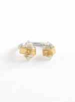 Double Herkimer Diamond with Diamond Open Ring