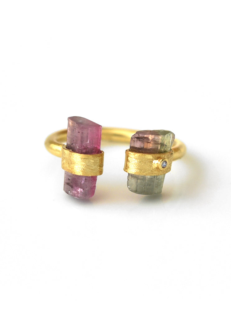 925 Vermeil Hand Crafted Double Watermelon Tourmaline Ring  with Diamond